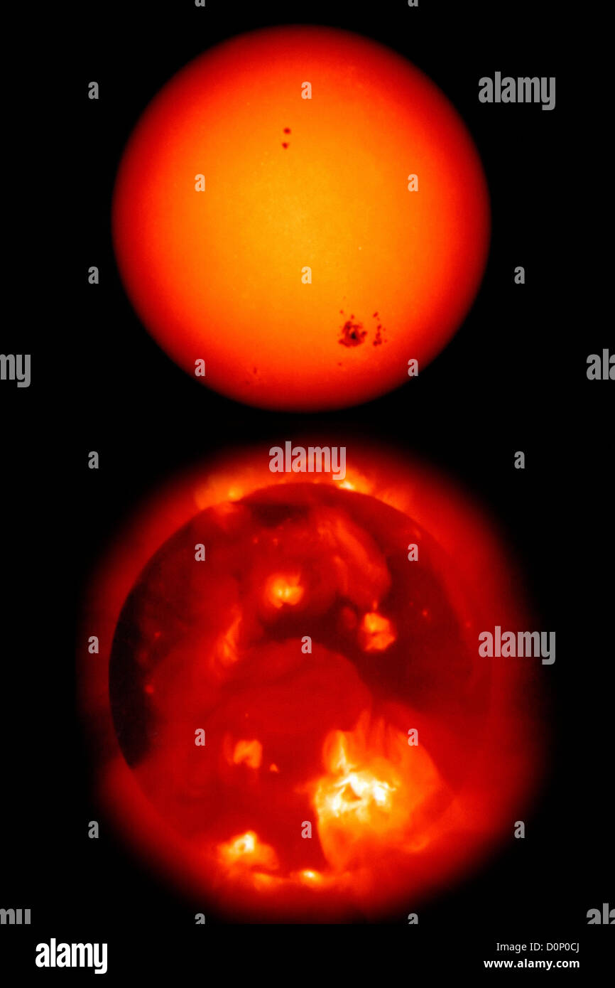 Sun in Visible and X-Ray Light - Stock Image