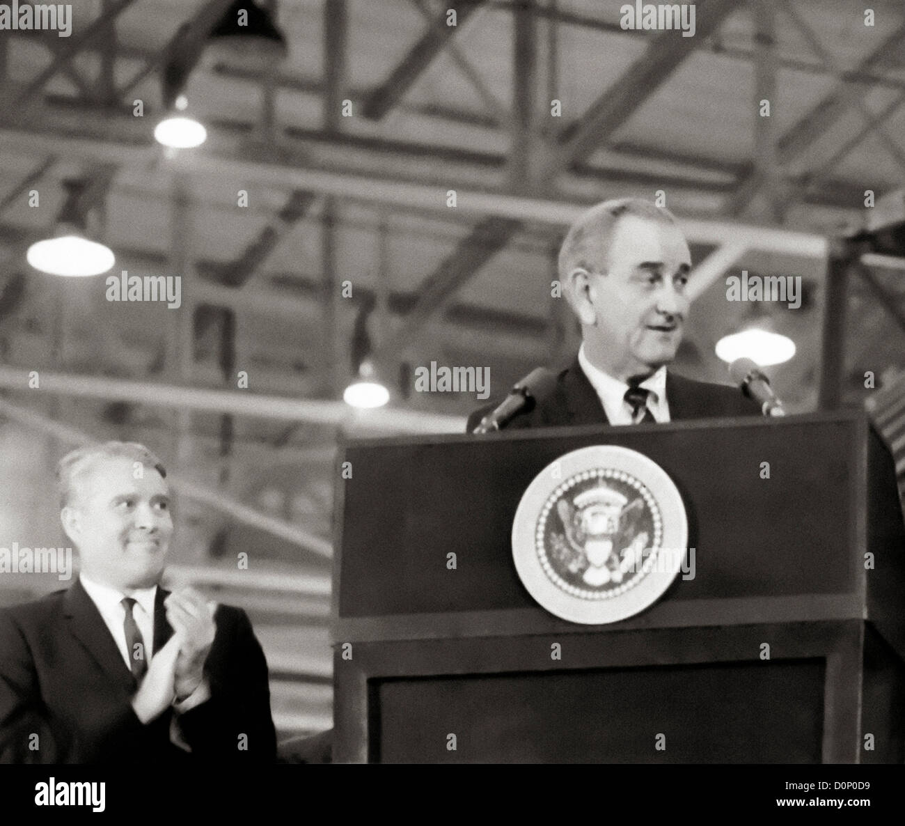 Wernher von Braun with President Johnson - Stock Image