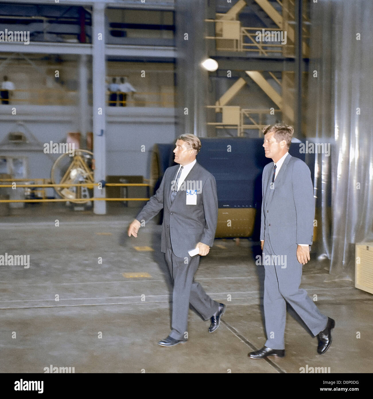 President Kennedy Tours Marshall Space Flight Center with Wernher von Braun - Stock Image