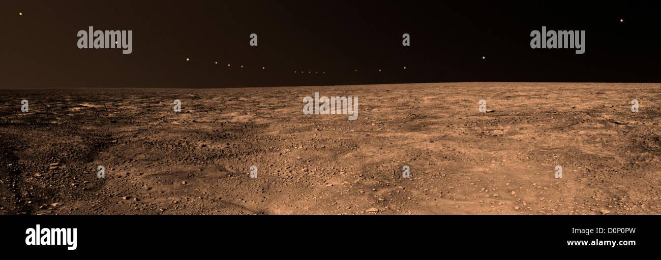 Panorama of Martian Midnight Sun - Stock Image