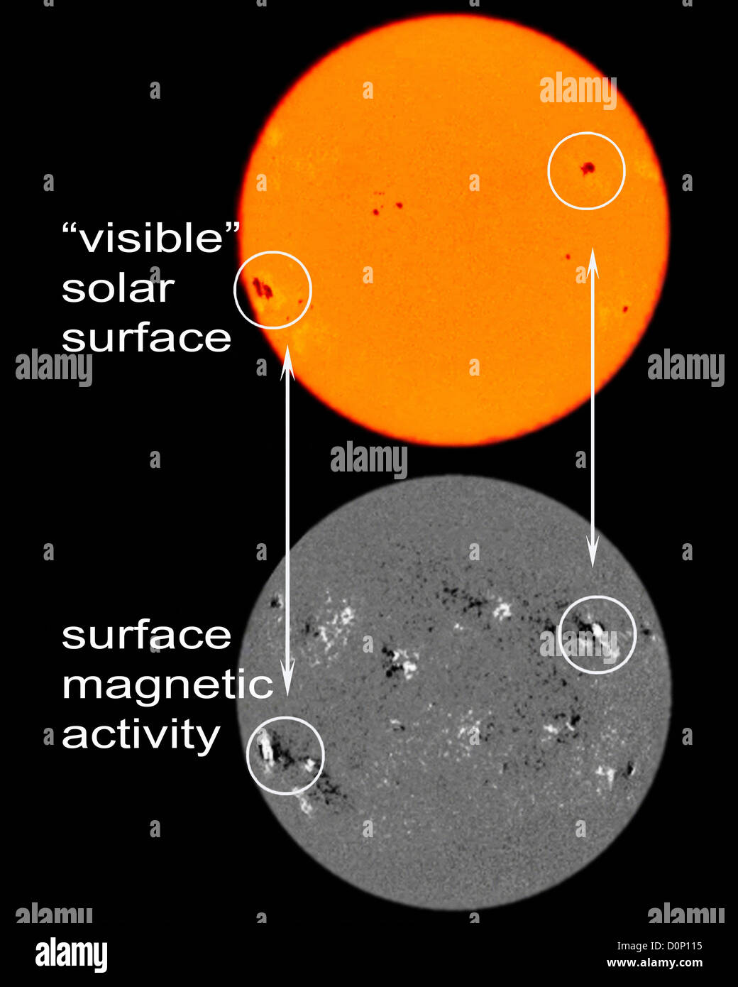 Sunspots are really visible evidence intense magnetic activity associated them. orange Sun (on top) shows what Sun - Stock Image