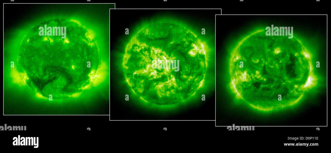 The three images spanning five years represent roughly top half average 11-year long solar cycle. first one April - Stock Image