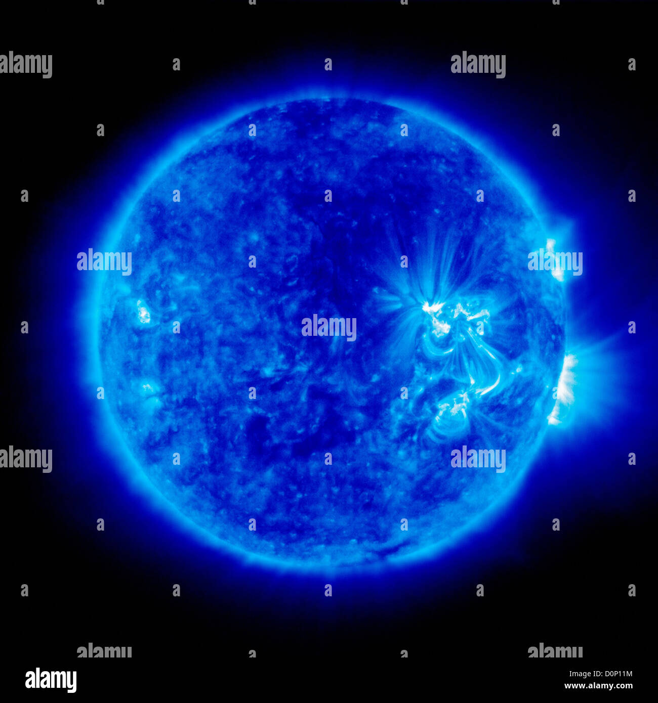 An image Sun taken Extreme ultraviolet Imaging Telescope (EIT) Solar Heliospheric Observatory (SOHO) 171 angstroms - Stock Image