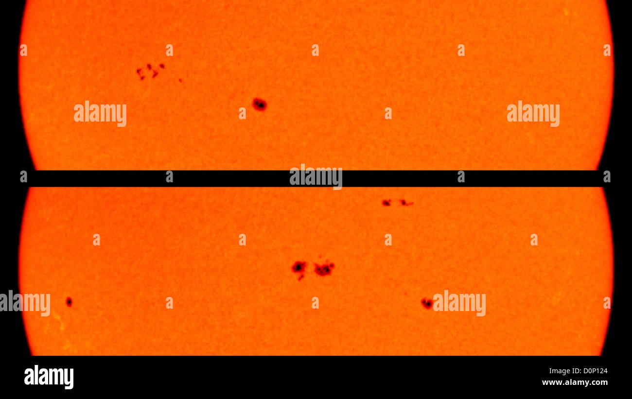 A group sunspots off left top image has merged into two large groups in center lower image eight days later. - Stock Image