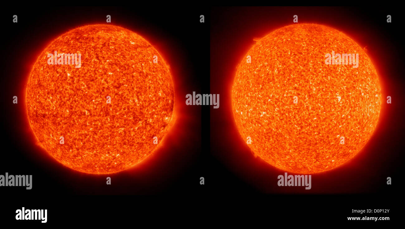 Two images taken exactly eleven years apart (November 29 - 1996 left 2007 right) both taken Solar Heliospheric Observatory - Stock Image