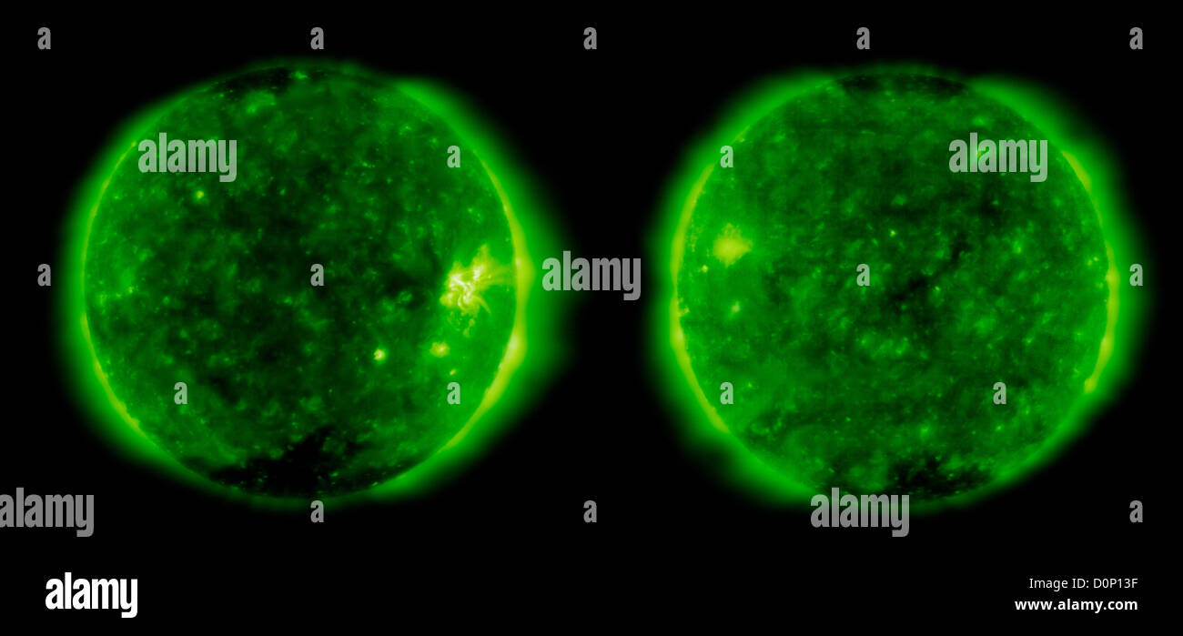 Two images taken exactly eleven years apart (December 27 - 1996 left 2007 right) both taken Solar Heliospheric Observatory - Stock Image