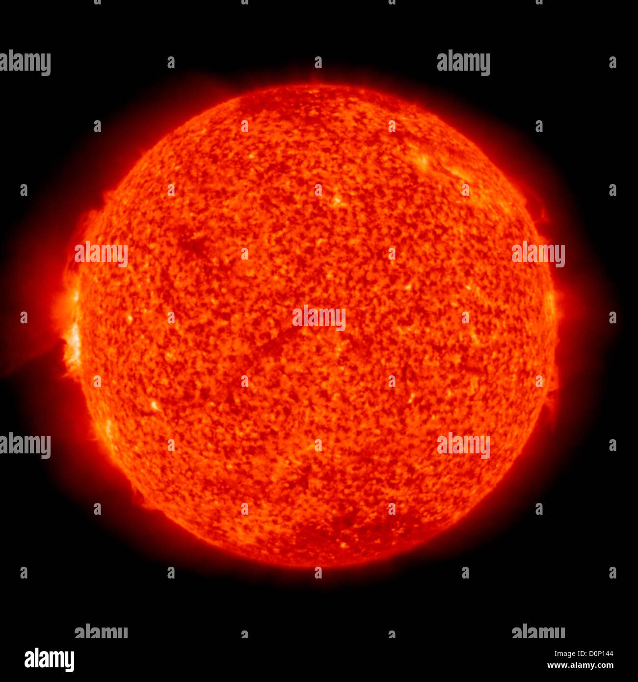 A view fairly normal Sun solar prominences on edge seen in Solar Heliospheric Observatory (SOHO)'s Extreme ultraviolet - Stock Image