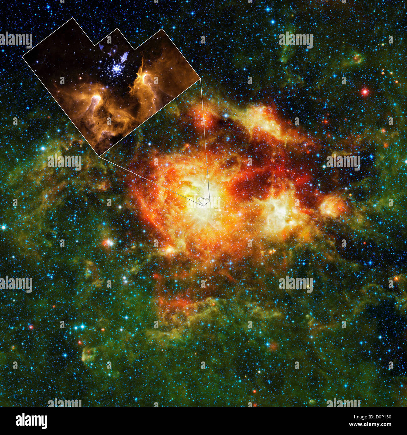 WISE and Hubble Images of NGC 3603 - Stock Image