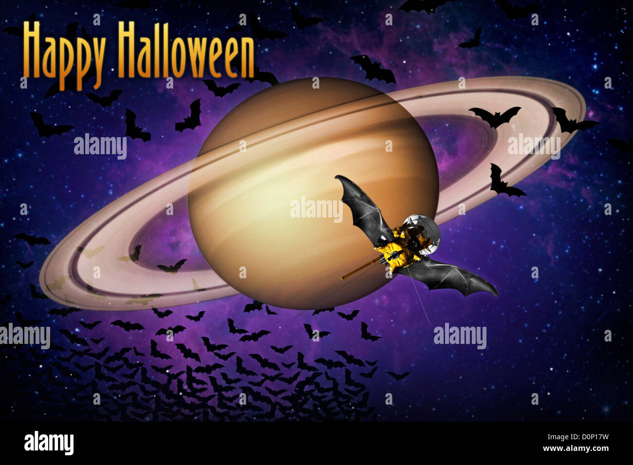 Halloween Greetings from Saturn - Stock Image
