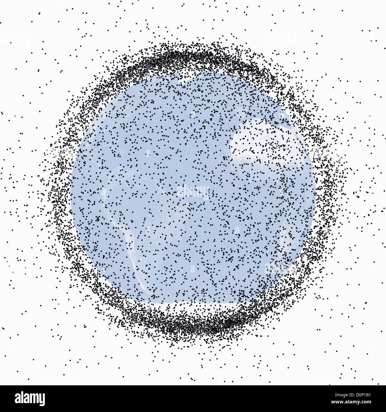 Orbital Debris and Satellites - Stock Image