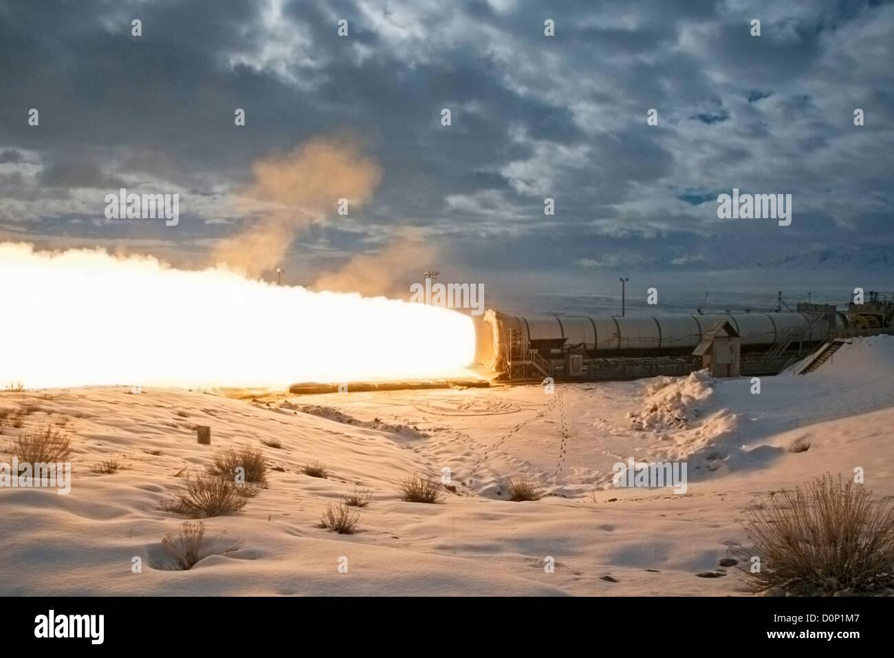 Final Test Firing of a Reusable Solid Rocket Motor - Stock Image