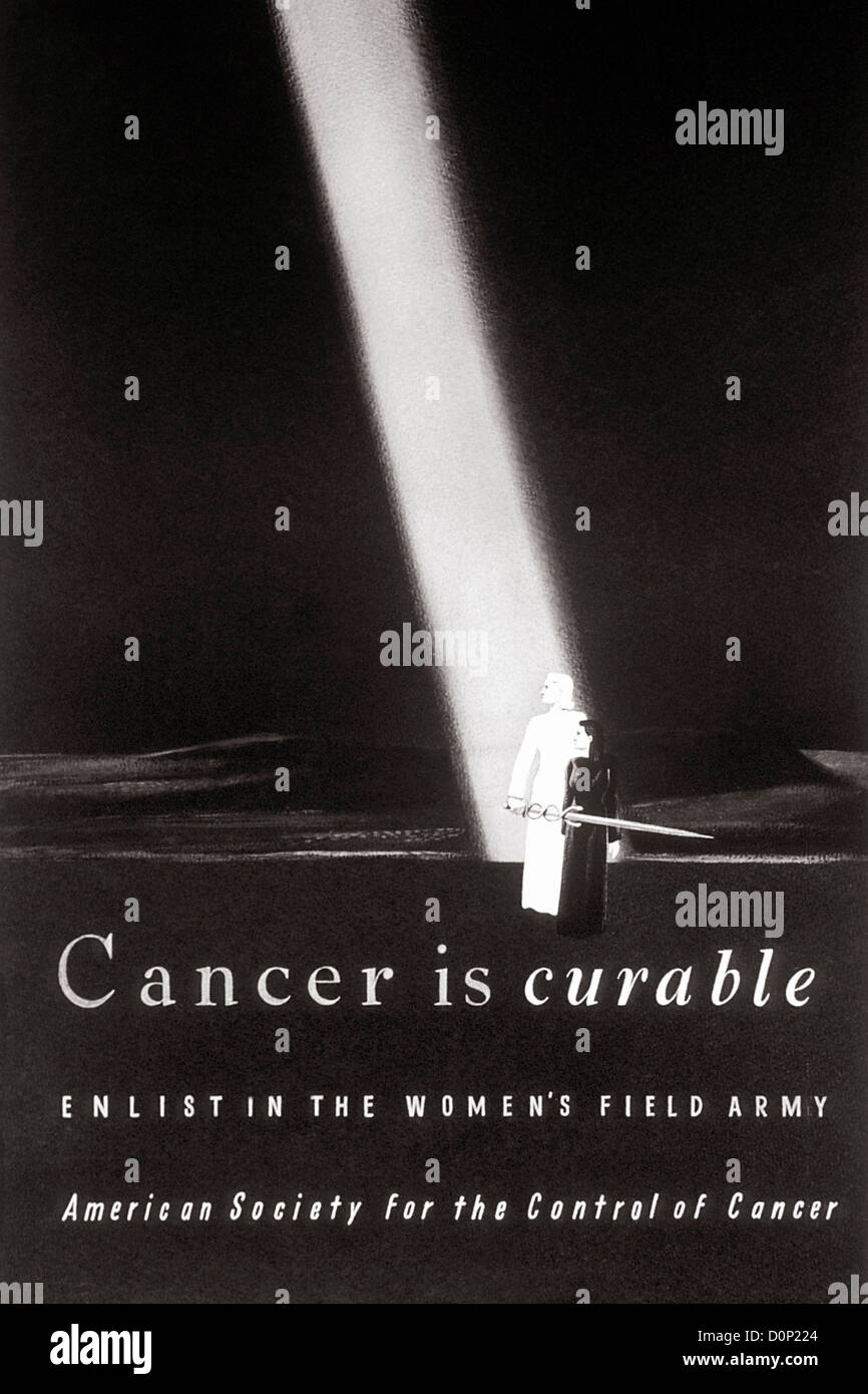 A poster using iconography Joan Arc requesting enlishment in Women's Field Army American Society Control Cancer - Stock Image