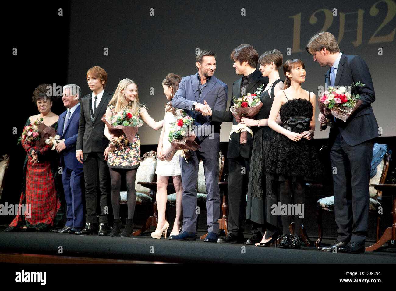 ... Hugh Jackman, Anne Hathaway and Tom Hooper, Nov 28, 2012 : Tokyo, Japan  - The Japanese musical cast and the movie casts of Les Miserables on stage.