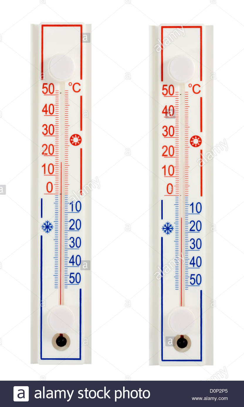 hot cold thermometers - Stock Image