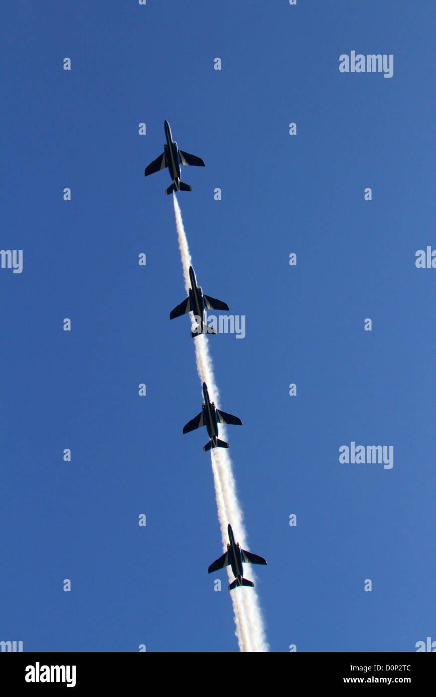 The Blue Impulse aerobatic display Japan - Stock Image