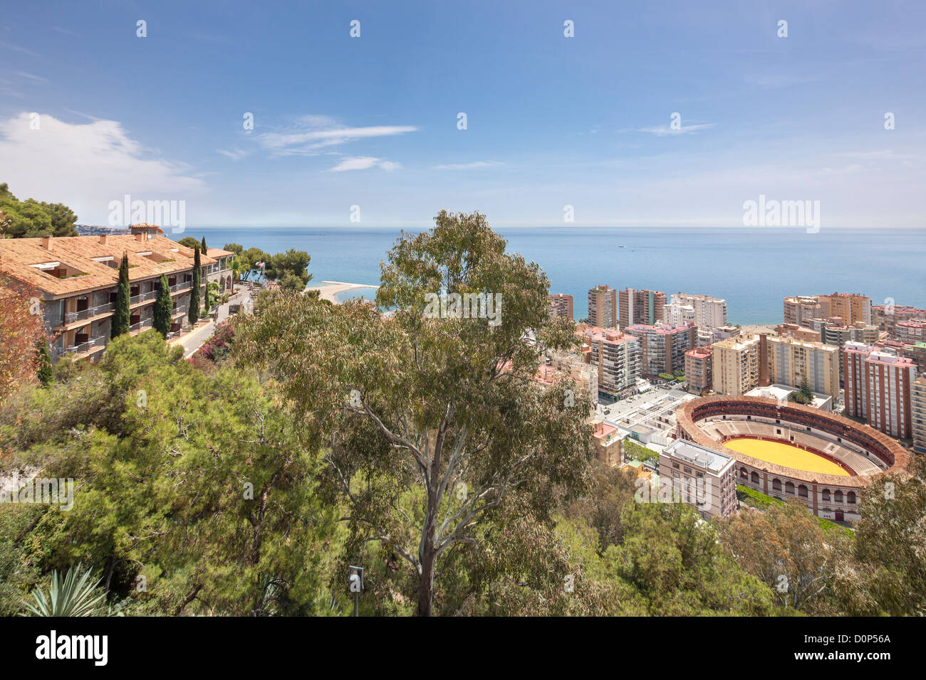 Malaga Parador de Gibralfaro Hotel. Beautiful location best view vista Mediterranean sea shore coastline city town - Stock Image