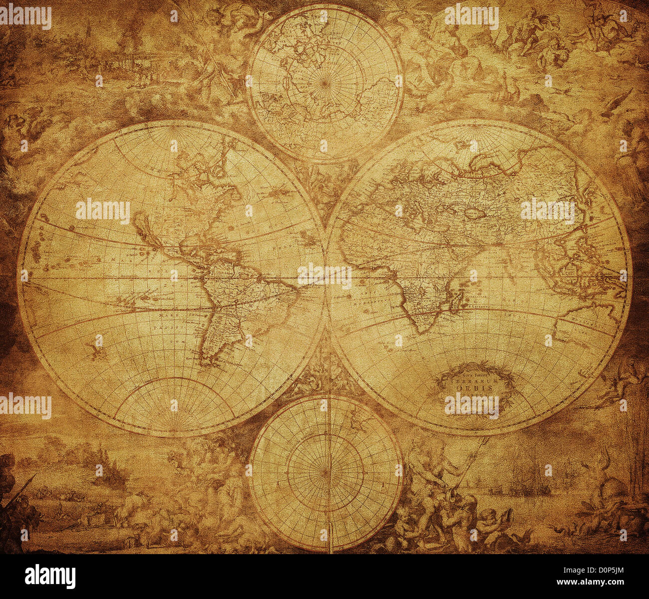 vintage map of the world circa 1675-1710 - Stock Image