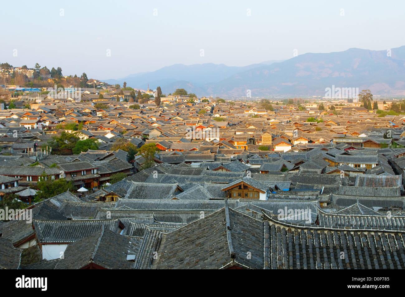 roofs of lijiang old town, yunnan, china - Stock Image