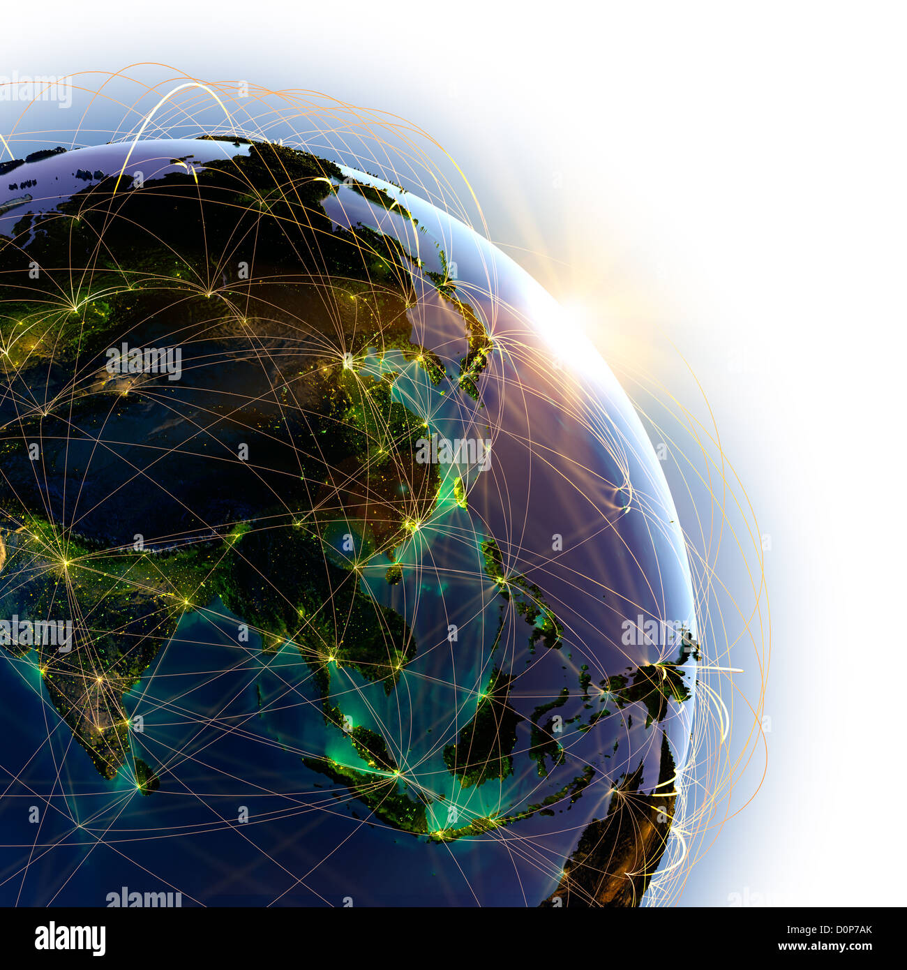 Main air routes in Asia - Stock Image