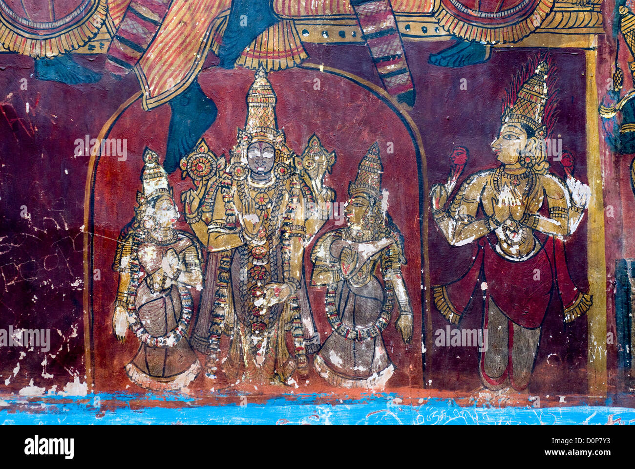 17th century Murals in Varadaraja Perumal (Vishnu) temple in kanchipuram,  Tamil Nadu, India Stock Photo - Alamy