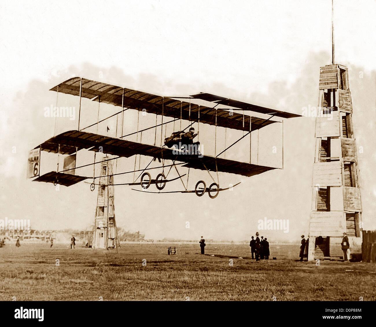 Henri Farman in Biplane Blackpool 1909 - Stock Image