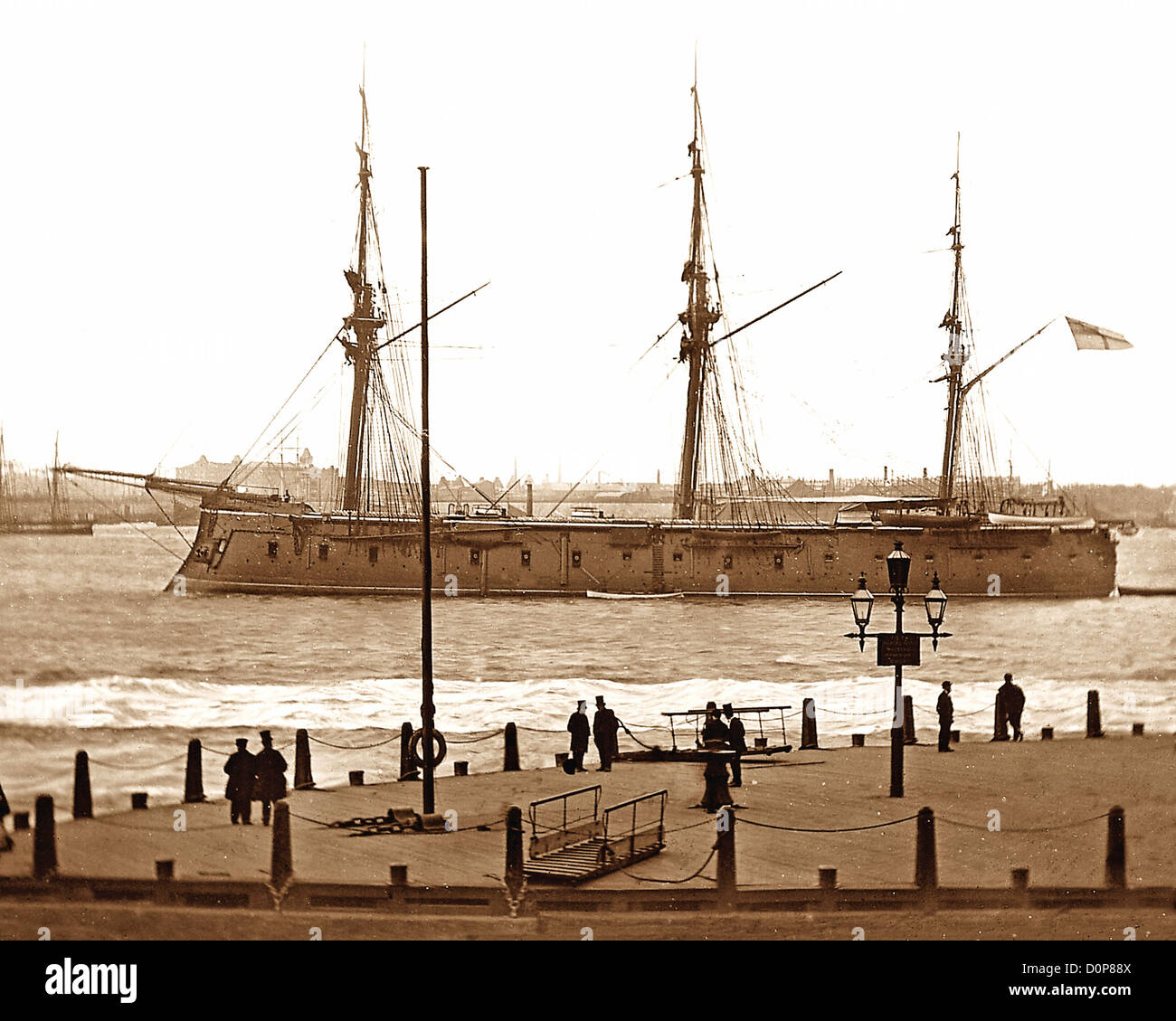 Defence Class Ironclad Warship on the River Mersey Victorian period - Stock Image