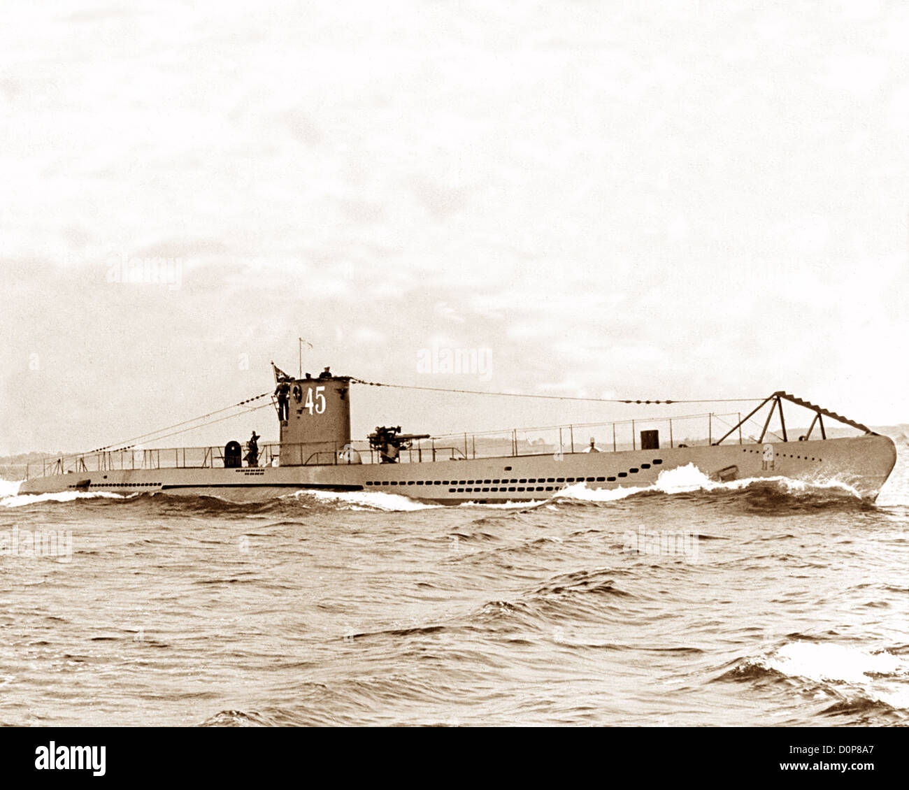 U Boat 45 German submarine WW2 - Stock Image