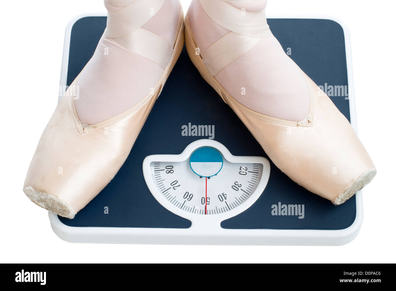 ballet dancer standing on the bathroom scales - Stock Image