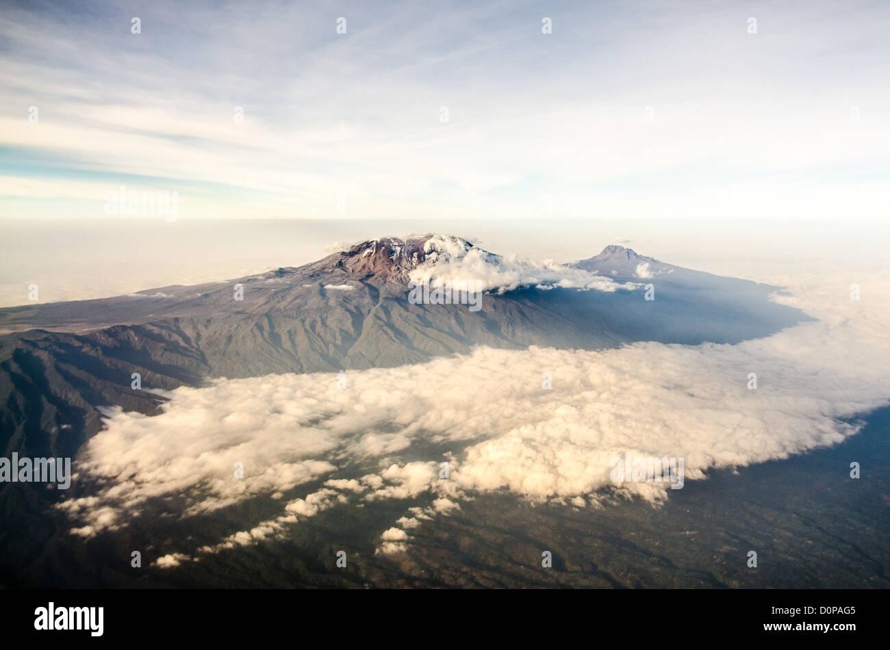 MT KILIMANJARO, Tanzania - Mount Kilimanjaro Aerial View Summit. An aerial view of Mount Kilimanjaro, the highest - Stock Image