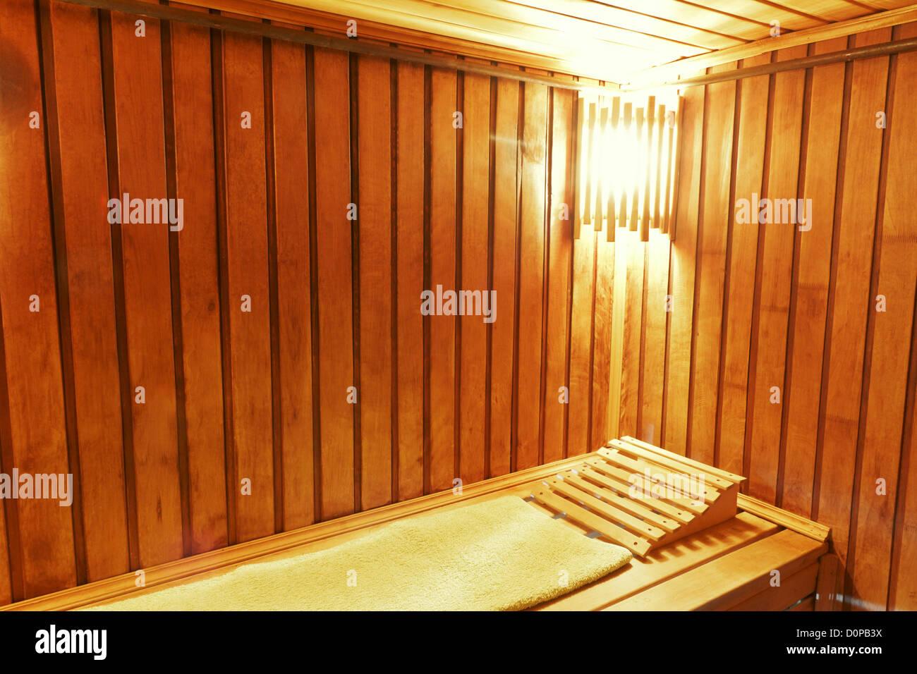 Wood cozy sauna room - Stock Image