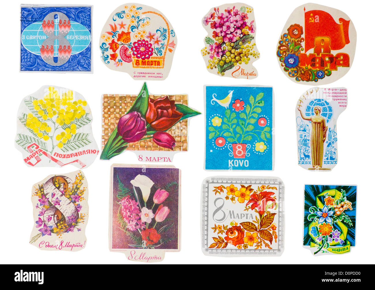 Ideological paper banners set collection of the totalitarian Soviet Union. Holiday of woman Mother day of the eighth - Stock Image