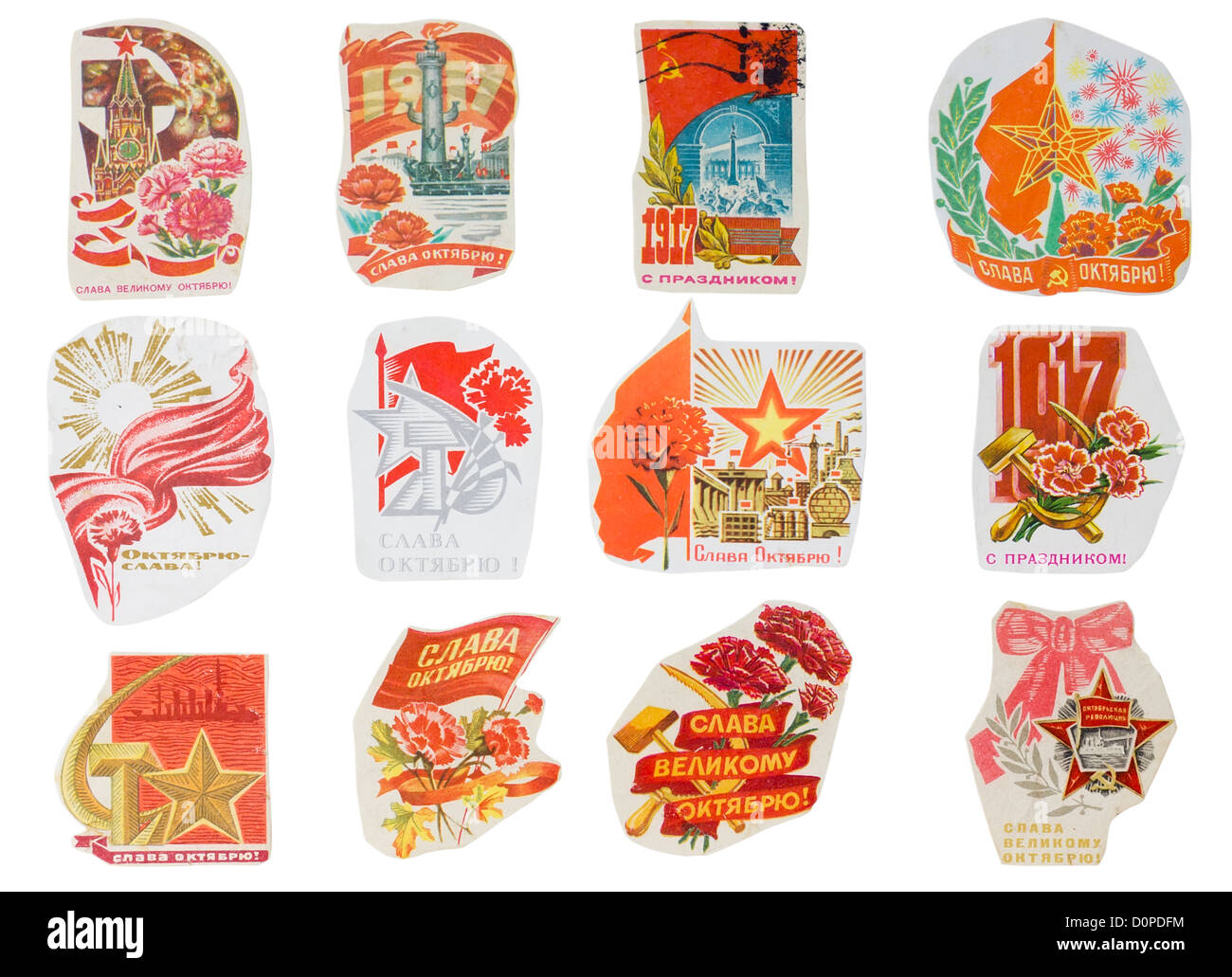 Ideological paper banners set collection of the totalitarian Soviet Union. Holiday of Great October Revolution. - Stock Image