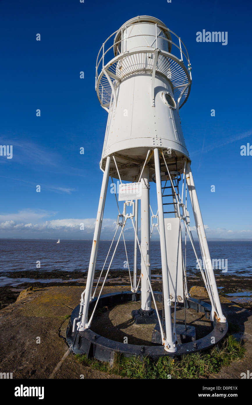 Black Nore Point lighthouse near Portishead on the Severn Estuary in Somerset England - Stock Image