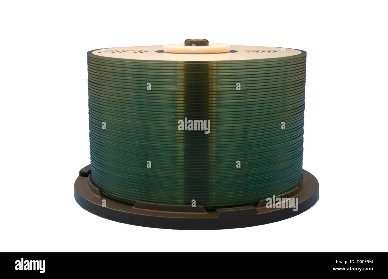 Stack of CD-R Discs against a blue background Stock Photo