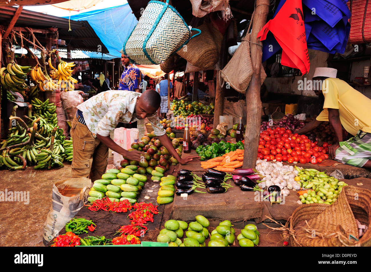 Fruit and vegetable market in Stone Town, Zanzibar, Tanzania, East Africa - Stock Image