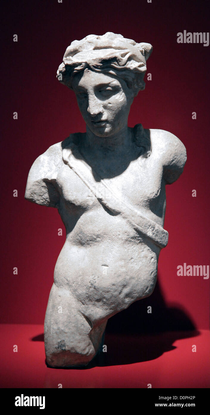 Apollo,Greek and Roman god Apollo,ancient marble sculpture. - Stock Image