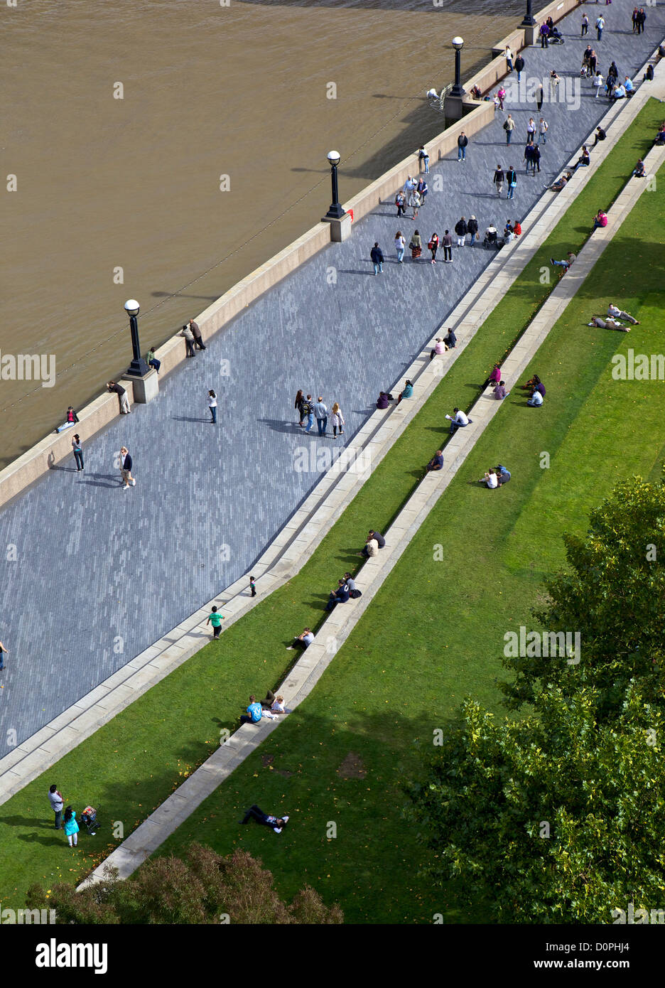 South bank of the River Thames, London, UK - Stock Image