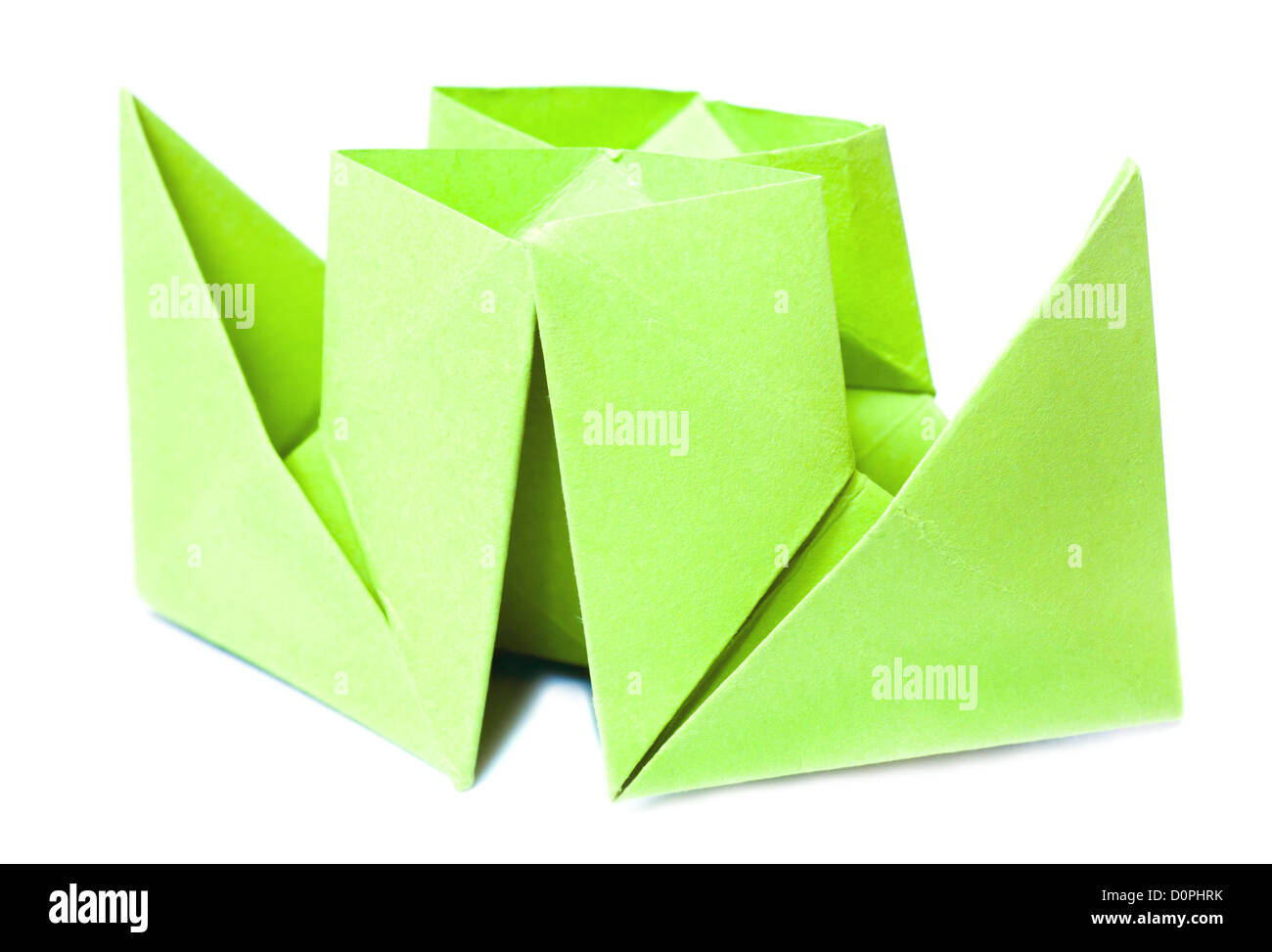 origami figure of boat - Stock Image