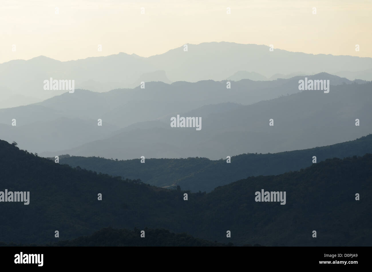 The rugged mountain ranges in the remote regions of northern Laos, not far from the Chinese border. - Stock Image