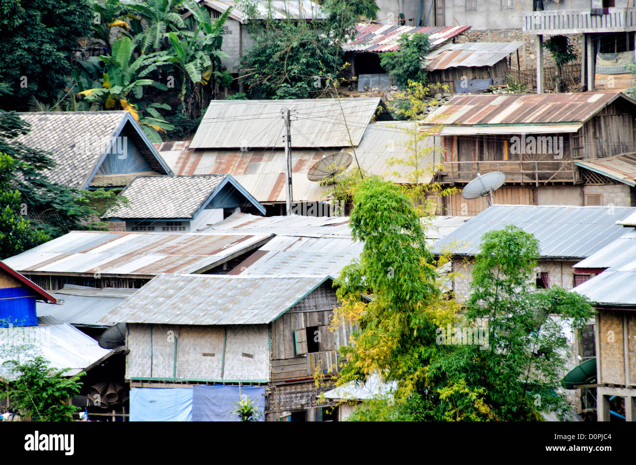 NONG KHIAW, Laos - Houses in Nong Khiaw in northern Laos. - Stock Image