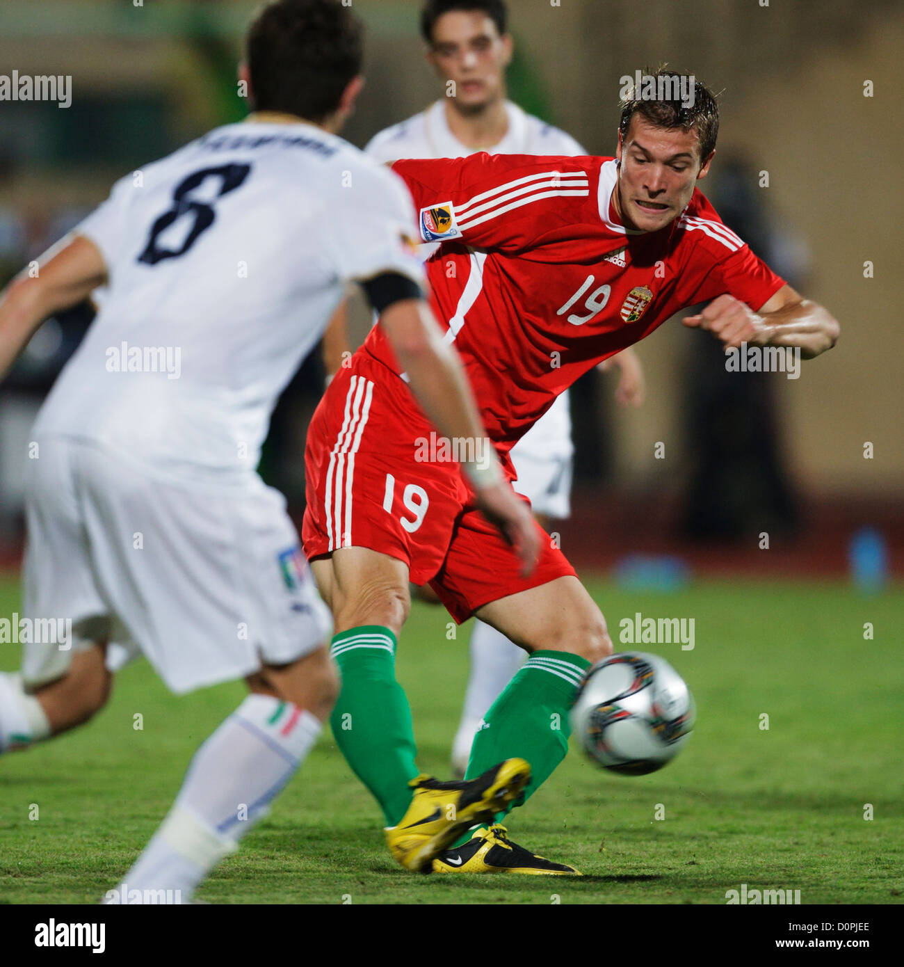 Marko Futacs of Hungary shoots the ball during the 2009 FIFA U-20 World Cup quarterfinal match against Italy at Stock Photo