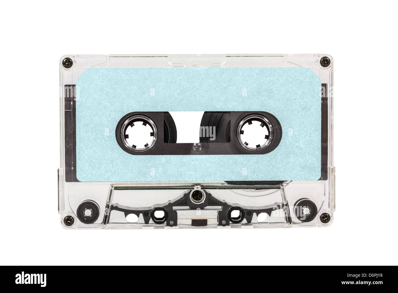 Old blue blank cassette tape isolated with clipping path. - Stock Image