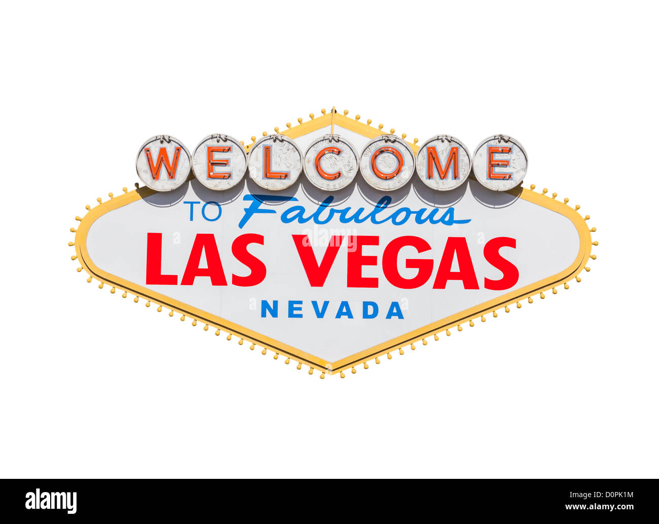Las Vegas welcome sign diamond shape isolated with clipping path. - Stock Image