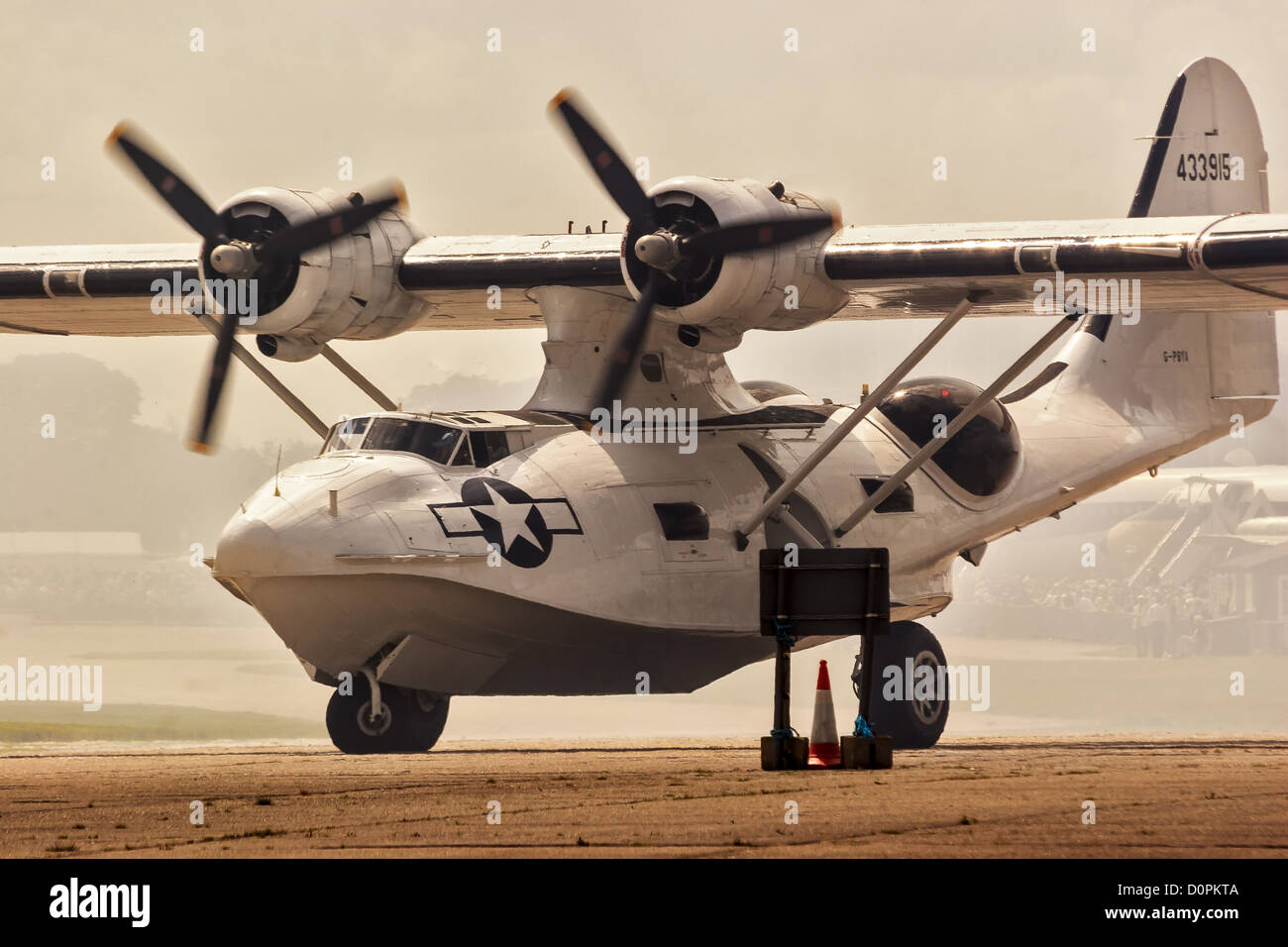 Catalina Flying Boat Taxying Duxford UK - Stock Image