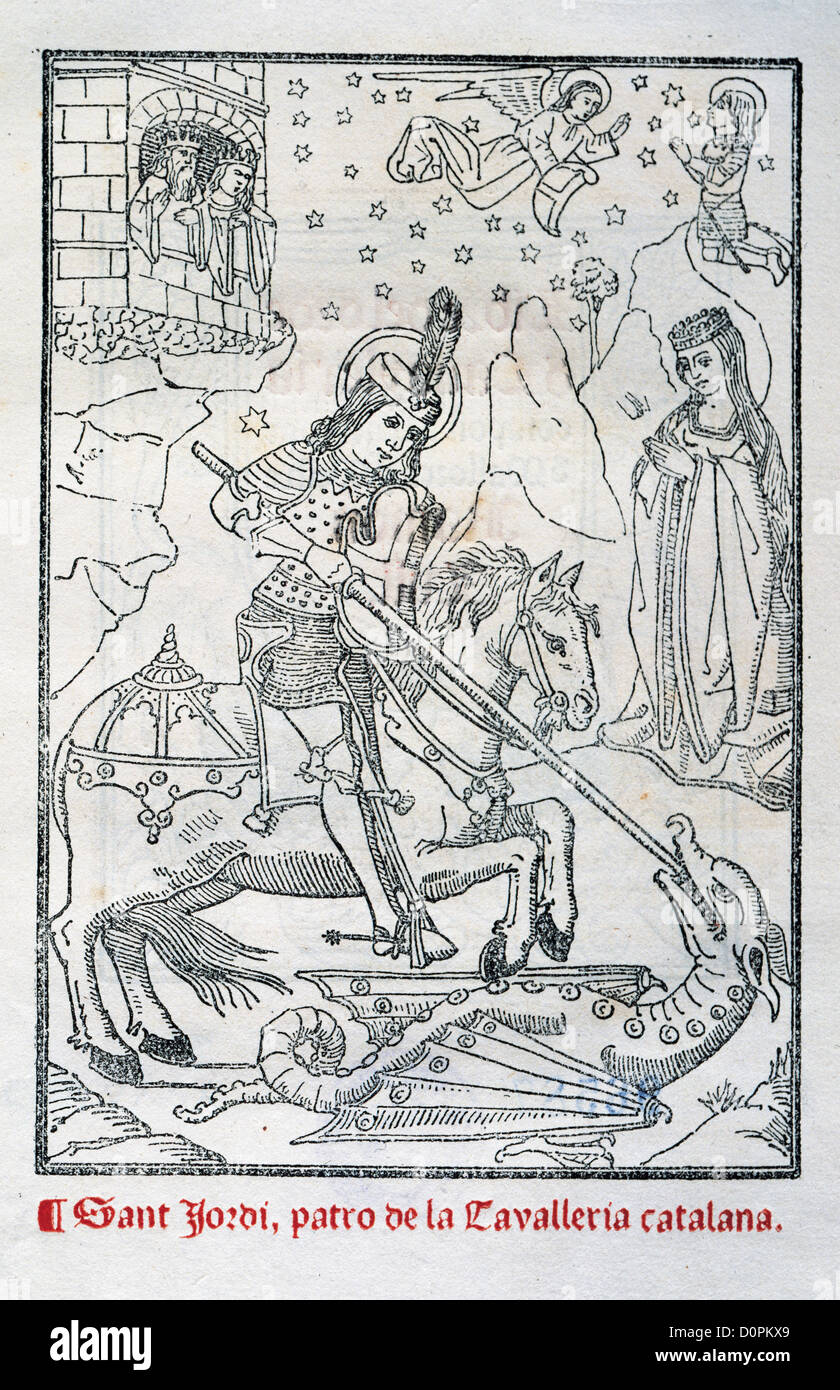 Engraving depicting St George as a young armored man fighting the dragon in a work by Ramon Llull. - Stock Image