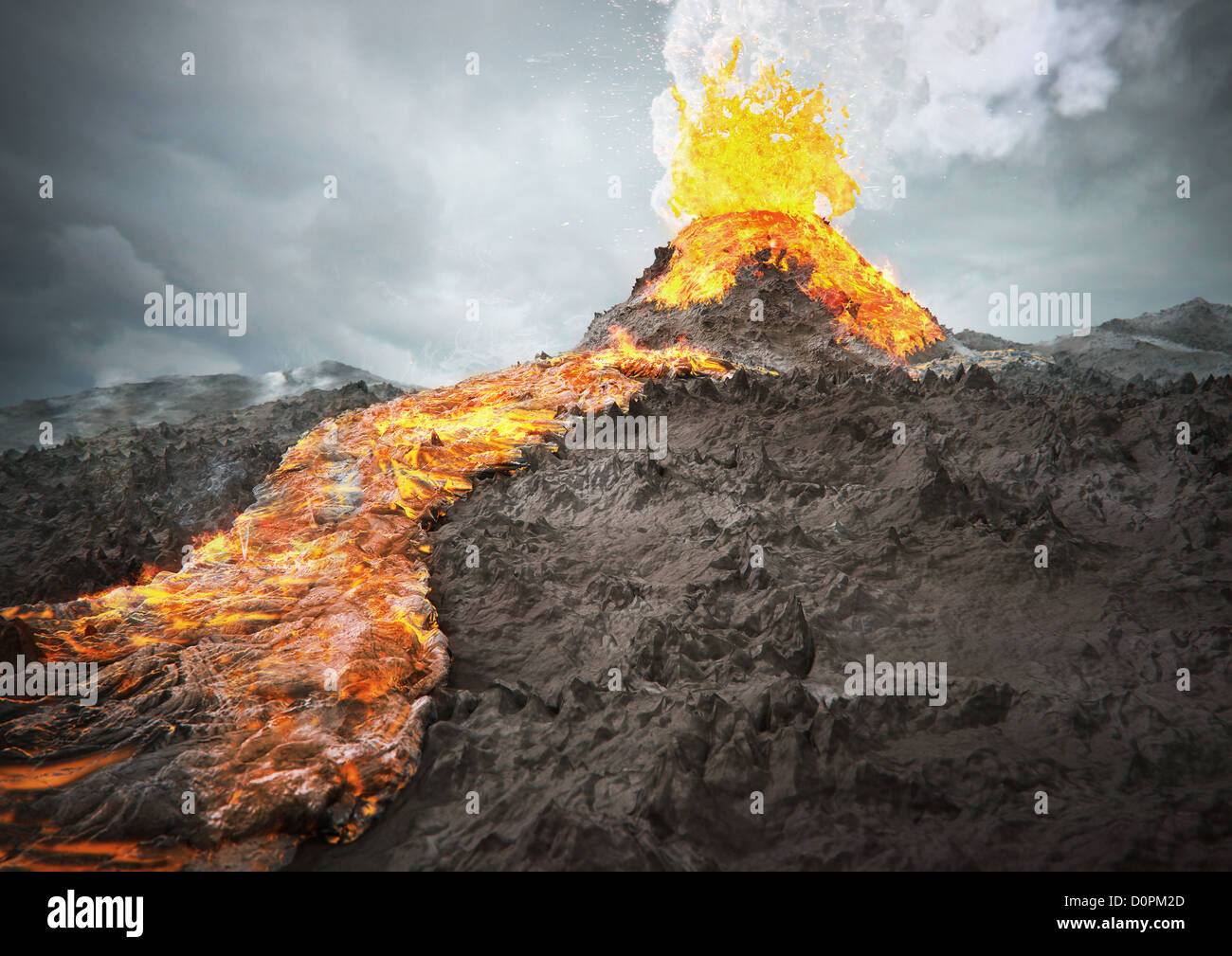 Volcano, eruption, lava, red hot, smoke, CGI, - Stock Image