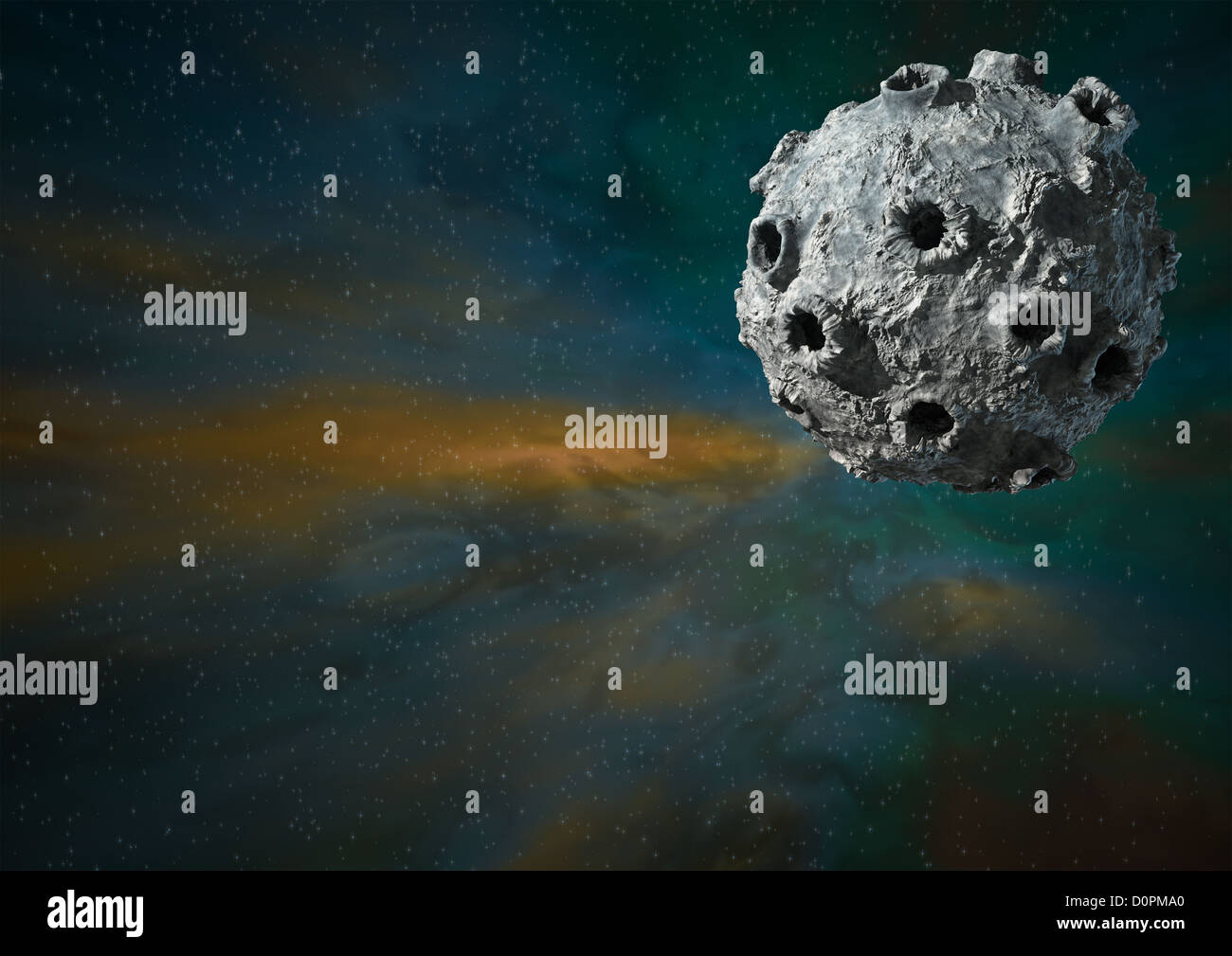 Space, moon, stars, CGI, model, cartoon moon, - Stock Image