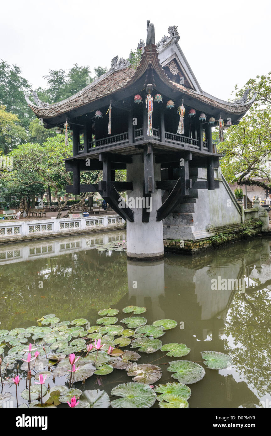 HANOI, Vietnam - at the One Pillar Pagoda in Hanoi, Vietnam. It is one of the most iconic temples in Vietnam and - Stock Image