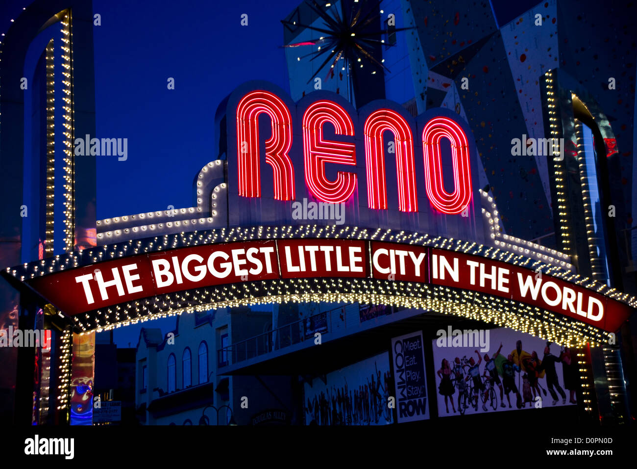 Close Up of the Famous Reno Sign - Stock Image