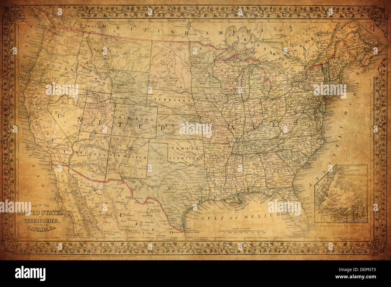 Vintage map of United States 1867 - Stock Image